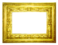 Profileframe with carved leafs, Bologna, 18th cent., gold leaf, brown bole