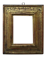 cassetta frame with punched floral decoration, Italy, 16th cent., gold leaf, red bole