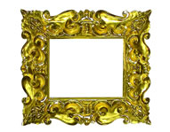 baroque frame, rich carved and gilded, Florence, 17th cent., red bole (Pitti frame)