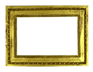 simple profile frame with pearls, Italy, 19th. cent., red bole