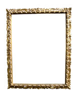 baroque reproduction frame, rich carved and gilded, Florence, 17th cent., red bole (Pitti frame)