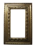 Profileframe with carved leafs, Piemont, 16th cent., gold leaf, dark red bole rif.: RIPERTORIO DELLA CORNI, private collection